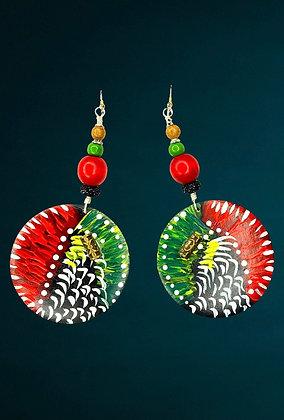 Happy Boho Red Beaded Earrings