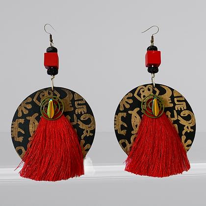 Red Fringe Wood Print Fashion Earrings