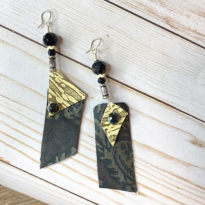 Leather Butter Imprinted Black Earrings