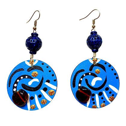 Magic Blue Hand Painted Global Bead Wood Earrings