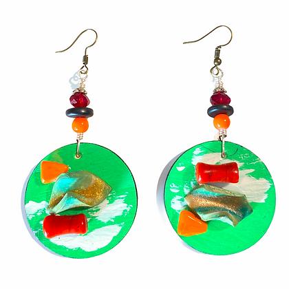 Abstract Art Beaded Wood Dangle Earrings