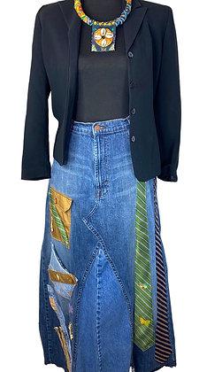 Dress To The 9's Shabby 2 Tie Denim Skirt