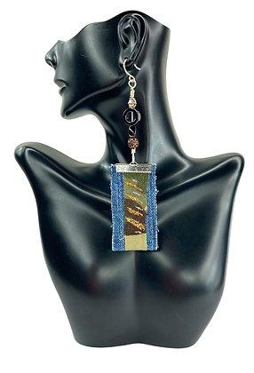 Army class lady denim dangle boho earrings