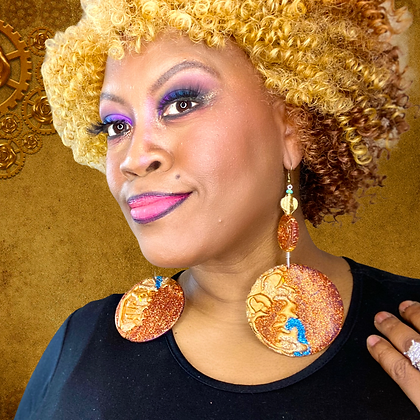 Glittered faux Stone Beaded Turquoise Copper Earrings