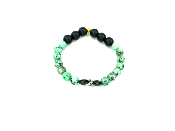 Green Art Deco black Matt speckled slip on bracelet