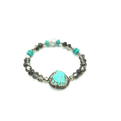 Turquoise faux black diamond sassy stone bracelet