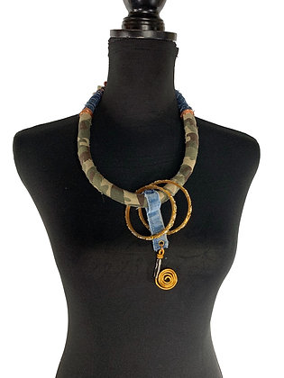 Boho army army green gold denim bold necklace