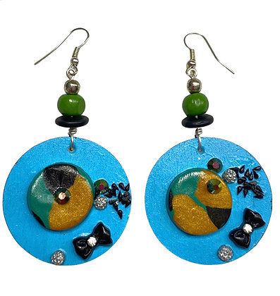 Polymer Clay Beaded Blue Sprinkled Wood Earrings