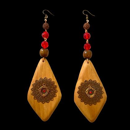Wood Lady Sensation Dangle Style Earrings