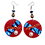 Thumbnail: Red Candy Colored Wood Jeweled Earrings