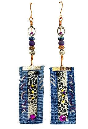 Purple Slay Denim Earrings