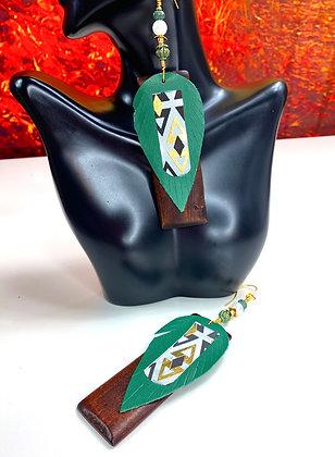 Green Boss Block Beaded Leather Earrings