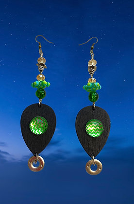 Tumble Green Wood Glaze Earrings