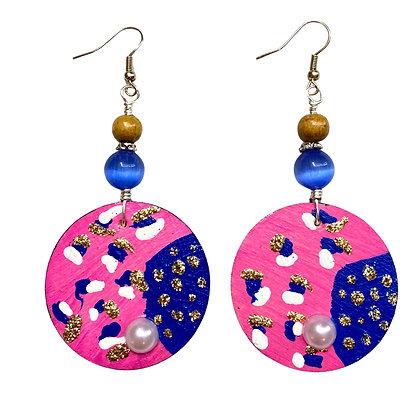 Spiced Hot Pink Art Fashion Wood Earrings
