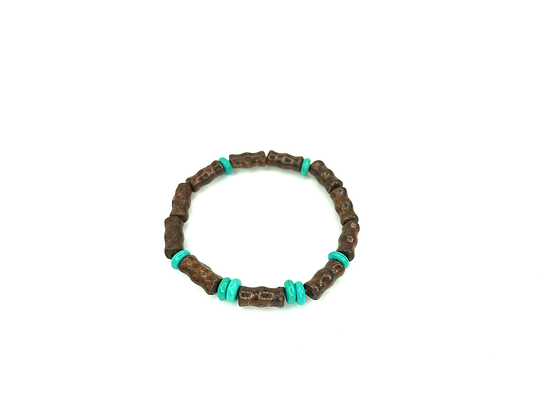 Tribal feel turquoise and brown slip on bracelet