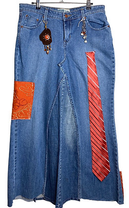 Ladies And Gents Boho Tie Denim Skirt