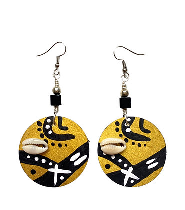 Gold And Black Tribal Speckled Wood Earrings