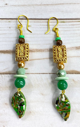 Green Eyes Dangle Jeweled Earrings