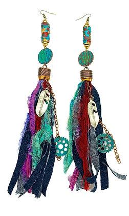 Over Time Boho Denim Fringe Earrings