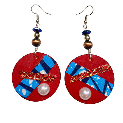Red Candy Colored Wood Jeweled Earrings
