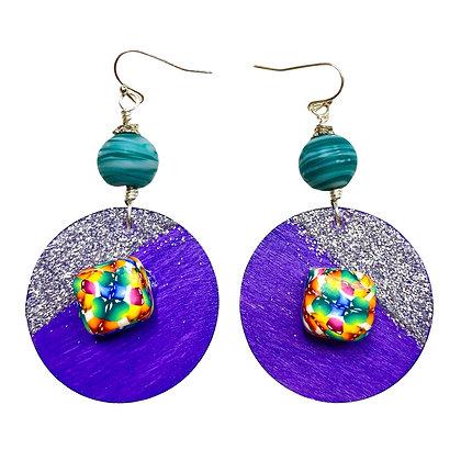 Art Covered Purple Wood Dangle Jeweled Earrings