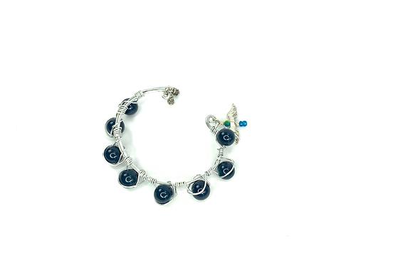 Knock knock  blue wire wrapped unique squeeze bracelet