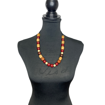Burgundy Wood Beaded Heat Necklace
