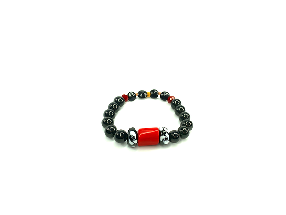 Bright corral red stone with black white lamp work chic bead bracelet