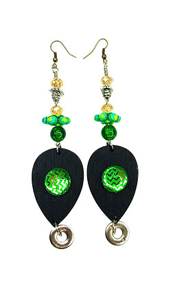 Tumble Green Wood Glaze Earrings