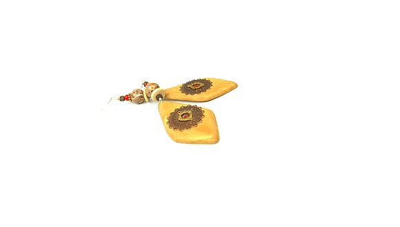 Mello lighten wood bronze pendant front earrings