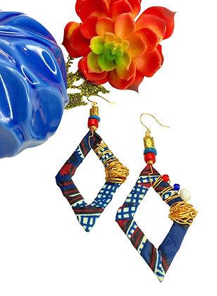 Golden Blue Star Wire Earrings