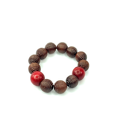 Oval brown sugar and burgundy stretch bracelet