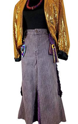 Fall Purple Boho Crazy Denim Shirt