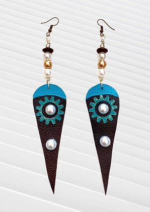 Turquoise  and Brownie Pearl New Style Leather Earrings