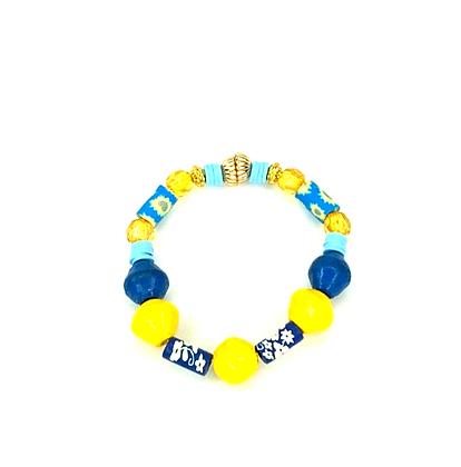 Feel good Sunday morning yellow blue slip on fashion bracelet