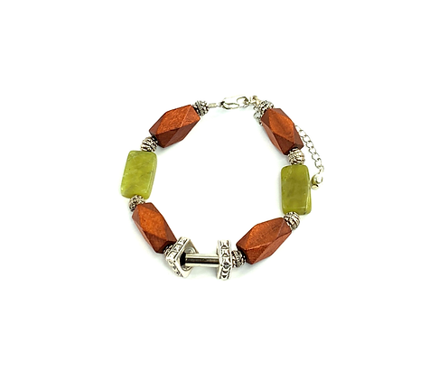 Advertine and wood fast boho style bracelet