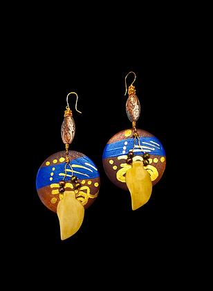 Boho Wooden Tribal Blue Earrings