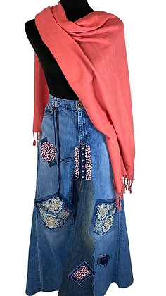 Pink Panther Boho Denim Skirt