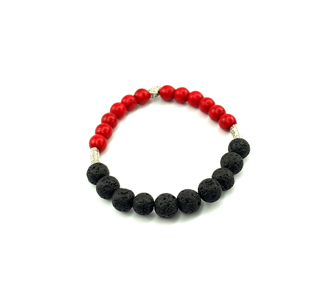 Flaming hot boho red black and silver fashion style bracelet