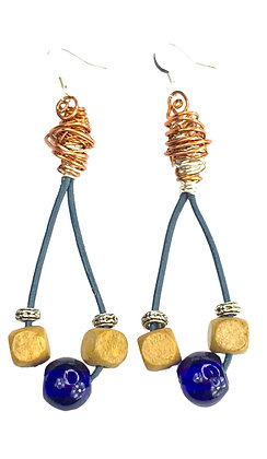 Leather Corded Wired Beaded Earrings