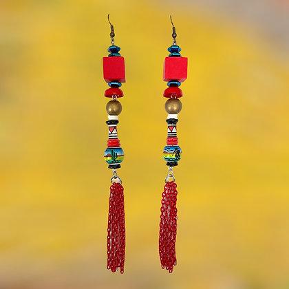 Red City Block Earrings