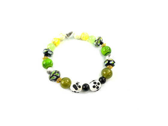 Shabby chic abstract green glass bracelet