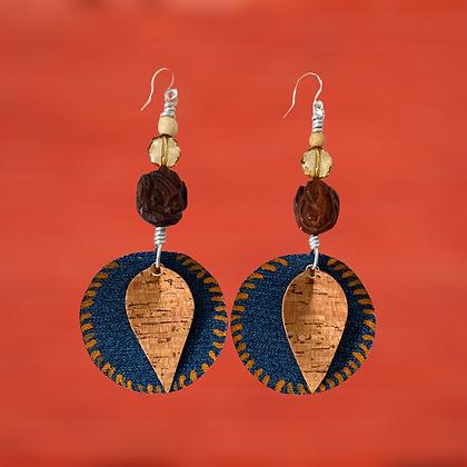 Denim Cork African Wood Carved Beaded Style Earrings