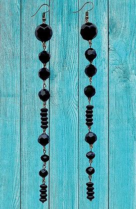 Black Shoulder Drop Shimmer Fashion Bead Earrings