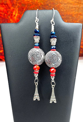 Paris Silver 360 Beaded Dangle Earrings
