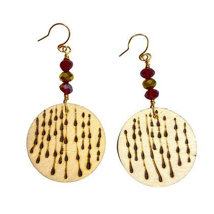 Rain Drop Wood Fashion Dangle Earrings