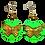 Thumbnail: Artist Green Butterfly Gold Wood Bead Earrings