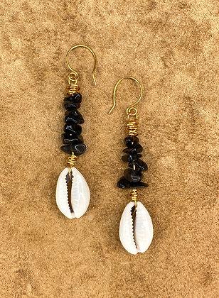 Black Licorice Beaded Earrings