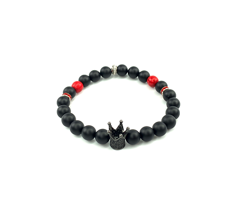 Red and black natural onyx beads with rhinestone crown center bracelet