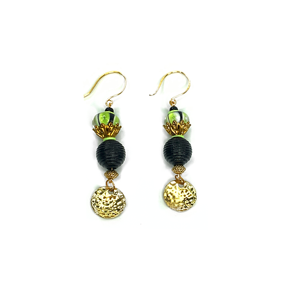 Sister sister shabby chic handmade glass dangle beaded rain drop earrings